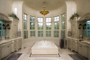 Plantation Shutters add flair and privacy to an elegant bathroom